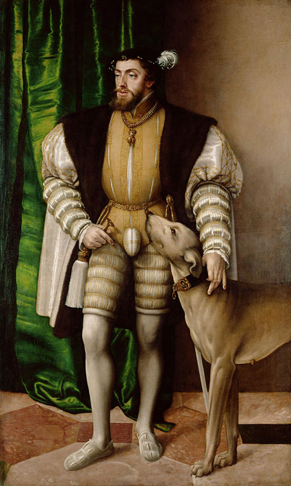 Charles V with his English Water Dog (1532 Jakob Seisenegger)