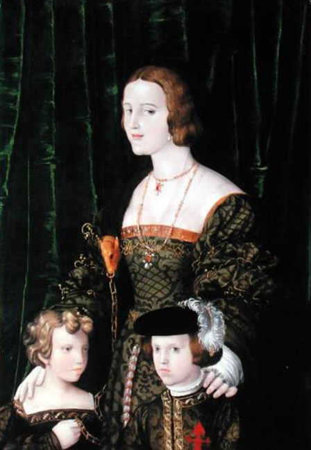 Joanna the Mad of Castille with her children Karl V & sister